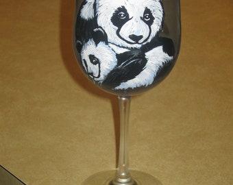 Hand painted panda wine glass