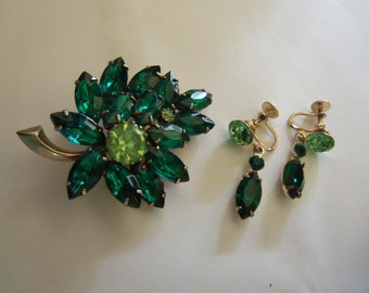 Two-Toned Juliana Demi Parure - Leaf Brooch and Matching Earrings