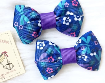 Dragonflies and Flowers - Set of TWO Hair Bows / Barrettes / Clips!