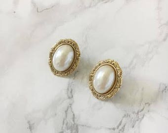 pearl-center large oval earrings