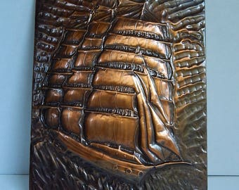 """7 1/4"""" x 9"""" Copper Color Relief Nautical Ship Boat Sails Flags Ocean Wall Picture"""