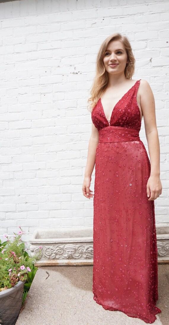 1970s Vintage Formal Dress Wine Silk Crepe Glitter Strappy