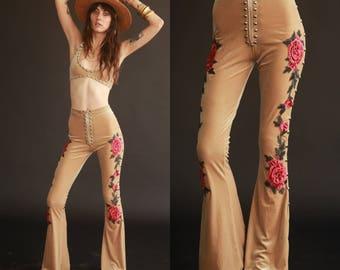 DESERT ROSE Embroidered n Studded Velvet Bell Bottoms Made to Order XS/S/M/L