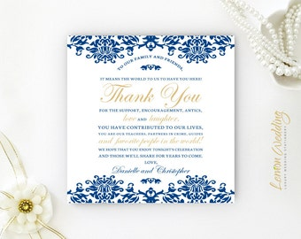 Reception thank you cards PRINTED | Seating thank you note card | Royal blue and gold cards | Damask wedding thank you notes