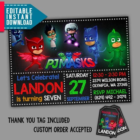 Pj Masks Invitations Pj Masks Birthday PJ Masks Party - Pj masks invitation template free