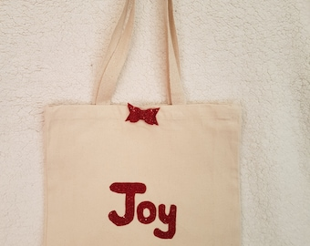 Red Joy canvas tote shoulder bag