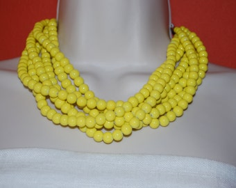 Yellow Statement Necklace Chunky Yellow Beaded Necklace Bold Multi-Strand Wedding Jewelry Bridesmaids Necklace