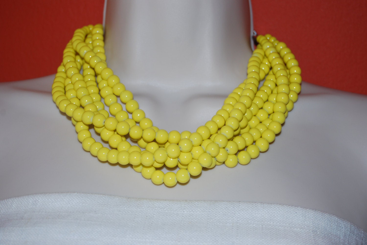 Super Yellow Statement Necklace Chunky Yellow Beaded Necklace Bold BJ44