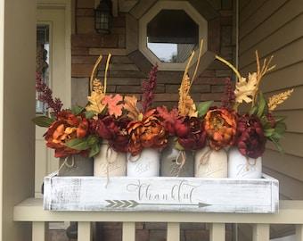 Fall mason jar centerpiece, Thankful centerpiece, Gather decor, fall centerpiece, mason jar fall decor, farmhouse signs