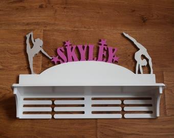 Personalized Wood Gymnastics Medal Holder Trophy Shelf  with Name Gymnastics Gift for sport Medal Organizer Gift for Gymnastic Birthday Gift
