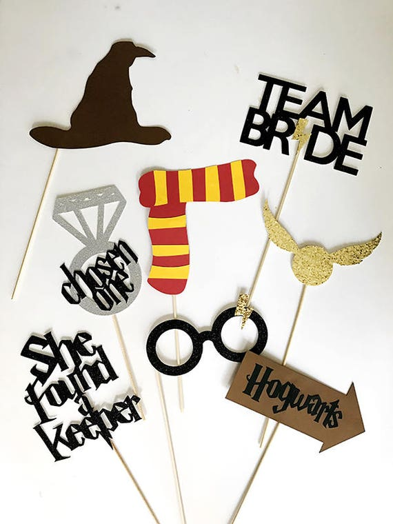 8 piece Glitter Harry Potter Themed Party Photo Booth Props