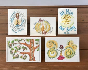 Scripture Cards - Abide, Set 4 - Fruit of the Spirit, Christian Greeting Cards, Scripture Notecard Set, Assorted Set of 5