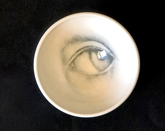 Porcelain White Bowl, Artistic Pottery, Drawing of an Eye on a Handmade Bowl,