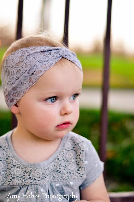 Baby Headwrap, Turban Headband,  Lace Headband, Gray Turban, Hair Accessories, Toddler Head Wrap, Girls Headpiece