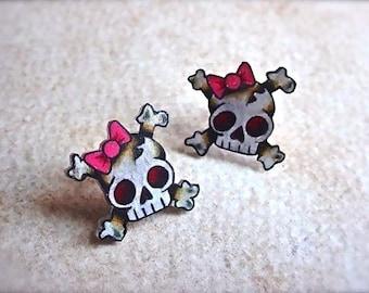 mini cute girly skull and crossbones stud earrings (posts)