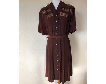 L/XL Toni Todd Original Brown Dress Satin Accents