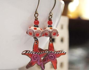 Funky Red Starfish Earrings, Artisan Enamel Copper Earrings, Lampwork Glass Bead Earrings, Modern Nautical Earrings, Sea Life Jewelry,