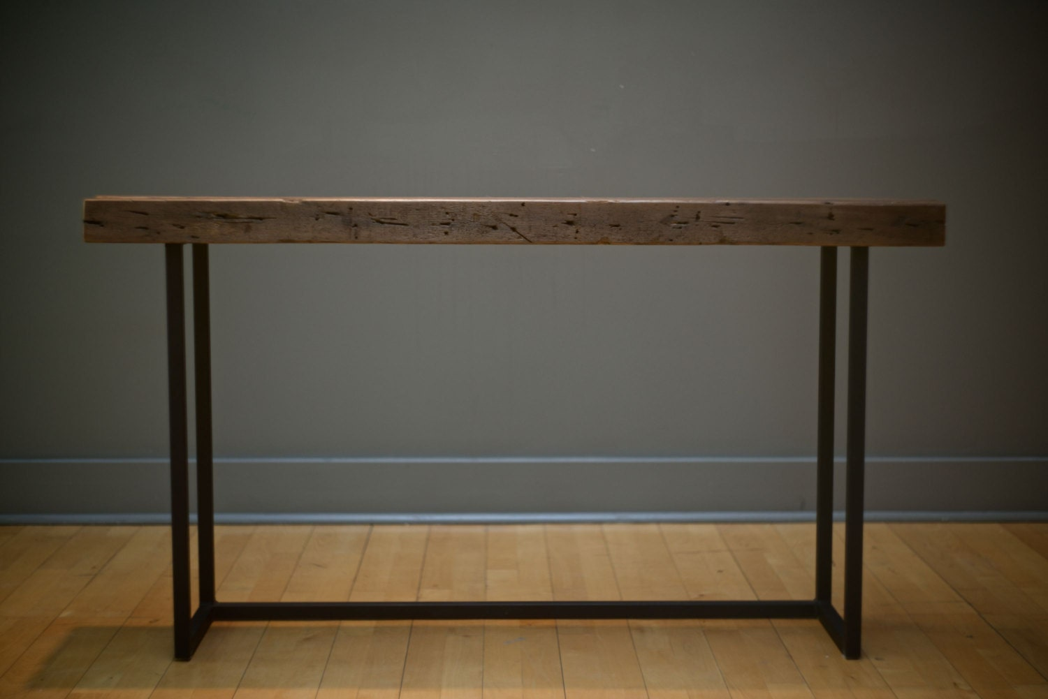 Sofa Table Hall Steel And Wood Reclaimed Console