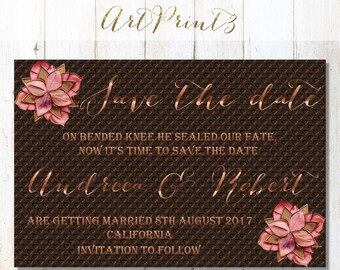 Save The Date Wedding Announcement Card Printable, Rose Gold Save the Date Card, Chocolate Save the Date Card Printable, Save the Date Card