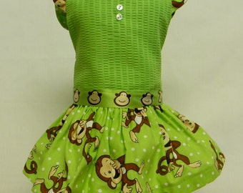 Sock Monkey Cotton Dress For 18 Inch Doll Like The American Girl