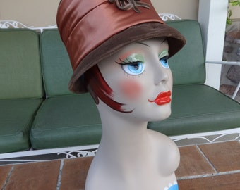 Vintage women's hat bucket 1950-60's MOD early millinery retro accessories steampunk