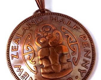Unique Maori Copper Pendant, New Zealand Half Penny Coin Jewelry Hei-tiki, Bronze Jewelry,New Zealand Coin, Maori Jewelry,Steampunk Jewelry