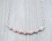 Pink Granite Beads Bar Necklace