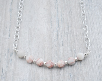 Pink Granite Beads Bar Necklace