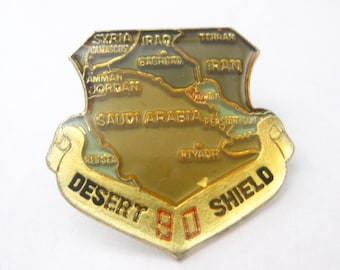 Desert 90 Shield Military Pin Back Middle Eastern Map Vintage