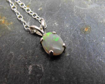Lightning Ridge Crystal Opal Pendant Australian Opal Necklace  Opal Sterling Silver 8x6