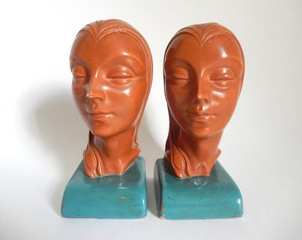 Antique 1930's Art Deco Marbello Art Crafters Woman Head Bookends