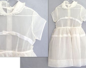 Vintage 1950's Off White Sheer First Communion Girl's Dress, Size 6