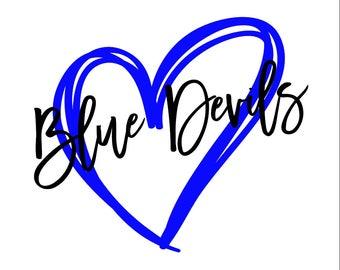 Blue Devils Heart SVG/PNG/DXF