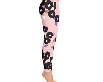 Pink Floral Leggings, Polyester and Spandex, Printed Leggings for Women