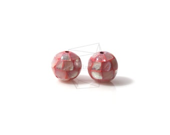 PEA-012-G/4PCS/ Mother of Pearl Mosaic round ball/10mm/Mother of Pearl ball beads