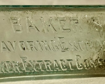 Vintage 1900's Baker's Flavoring Extracts Green Tint Glass Bottle , Baker Extract Co