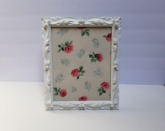 Distressed Ornate Baroque 8 by 10 Picture Frame painted white  /  Easel Back / Wedding / Nursery Cottage Chic