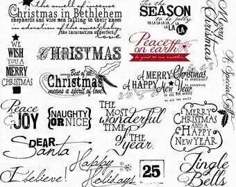 Christmas WordArt, Christmas Scrapbook Titles, Quote Digital Stamps for DIY Holiday Card Making & Prints, Christmas Word Art Greetings