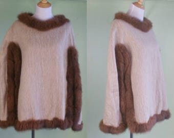 Vintage Alpaca Cape - Tan & Brown Pullover Poncho - One Size