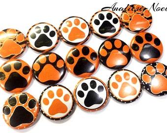 """Paw Magnet, Orange, Black, 1"""", Button Magnet, Paw, Orange Paw, Black Paw, Tiger Paw, Panther Paw, Cougar Paw, Wildcat Paw, Bear Paw, Magnet"""