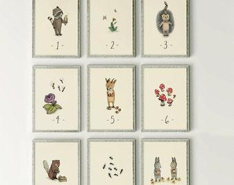 Counting flash cards  - Alphabet Nursery Art, ABC Flash Cards, Kids Wall Art, Number Animal, Wall Art,  SET 9 Prints