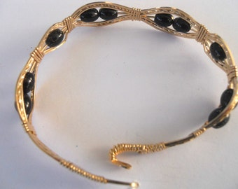 Gold Filled Wire Bracelet with Black and Gold Beads