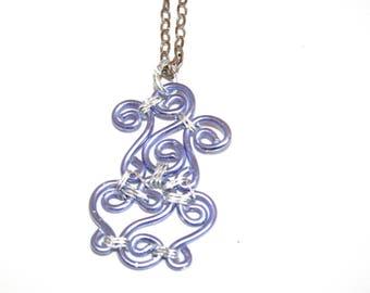 Handmade necklace with pale purple pendant - aluminum-