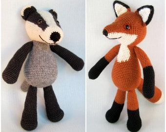 Blackberry the Badger and Bracken the Fox Amigurumi Pattern PDFs - Crochet Patterns