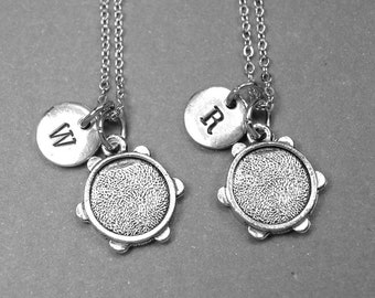 Best friend necklace, tambourine necklace, tambourine charm, music necklace, BFF necklace, friendship jewelry, personalized necklace