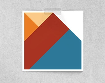 Fry: Futurama Geometric Portrait Art Print // Delivery Boy in Red, Orange and Blue // Animation Inspired Character Portrait and Parody Print