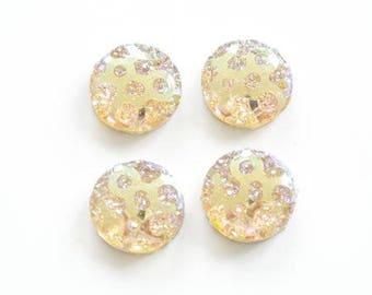 Flat 10mm iridescent champagne glitter resin cabochon
