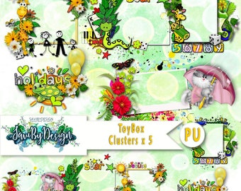 Digital Scrapbooking Clusters set of 5 - TOYBOX premade embellishment png clusters to make immediate scrap page