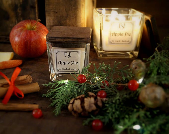 Christmas Soy Candle, Apple Pie, Cinnamon, Spicy Fruity, Holiday Candle, Home Decor Gift, Christmas Gift, Seasonal candle, wife gift