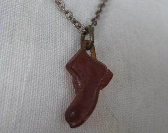 Shoe Amber Copper Necklace Vintage Pendant Plastic